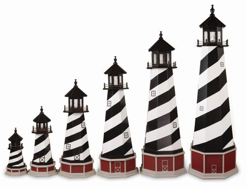 Amish Made Wooden Garden Lighthouse - Cape Hatteras - Shown As: 2'-8' Foot With Optional Base, Standard Electrical Lighting, Roof & Tower Primary Color Black, Tower Accent/Trim Color White. Optional Base Primary Color Cherrywood, Optional Base Trim Color Light Grey, No Base/Tower Interior Lighting