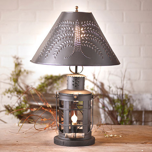 """Irvin's Innkeeper's Lamp With 15"""" Willow Shade Finished In Smokey Black"""