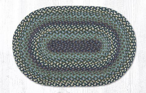 Earth Rugs™ oval braided jute rug in pictured in: Blueberries & Cream C-503
