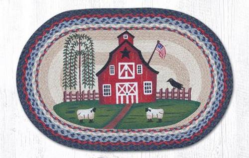 Earth Rugs™ Oval Patch Rug - Barn Scene - OP-015