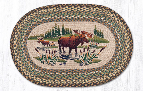 Earth Rugs™ Oval Patch Rug - Moose Wading - OP-051
