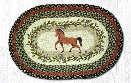 Earth Rugs™ Oval Patch Rug - Horse Oak Leaf - OP-427