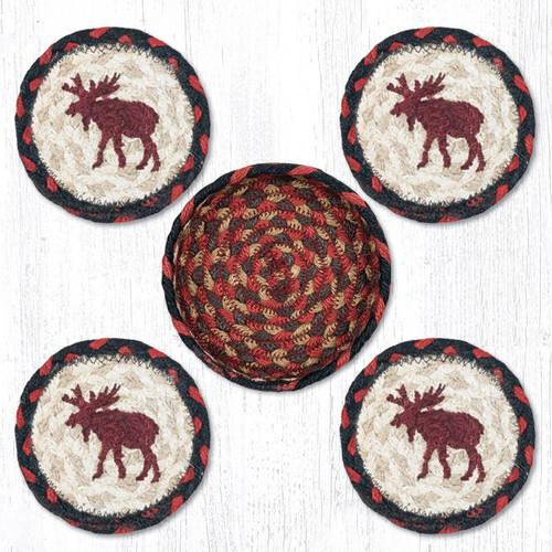 Earth Rugs™ braided coasters In a basket set: Moose - CNB-019