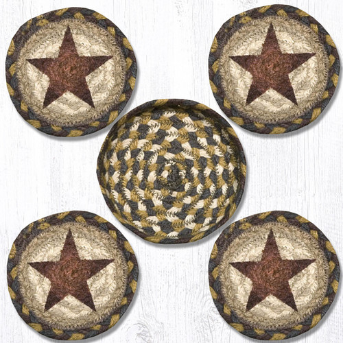 Earth Rugs™ braided coasters In a basket set: Gold Star - CNB-051