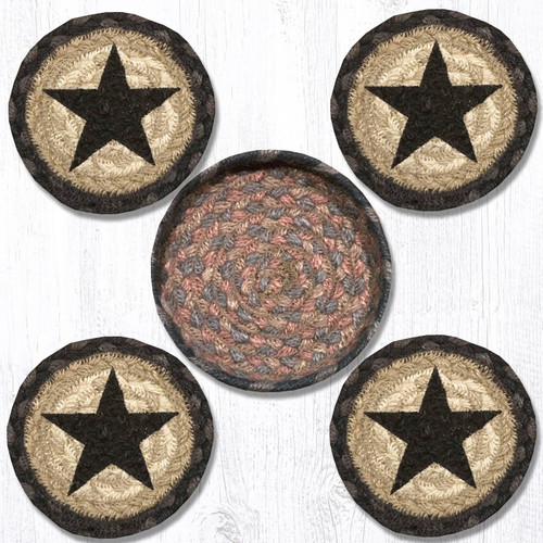 Earth Rugs™ braided coasters In a basket set: Black Star - CNB-099