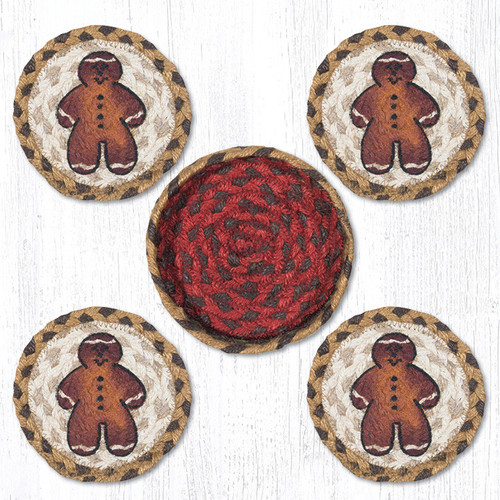 Earth Rugs™ braided coasters In a basket set: Gingerbread Man - CNB-111