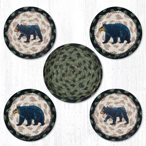 Earth Rugs™ braided coasters In a basket set: Mama & Baby Bear - CNB-116