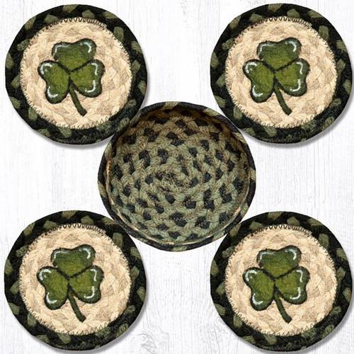 Earth Rugs™ braided coasters In a basket set: Shamrock - CNB-116