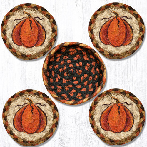 Earth Rugs™ braided coasters In a basket set: Harvest Pumpkins - CNB-222