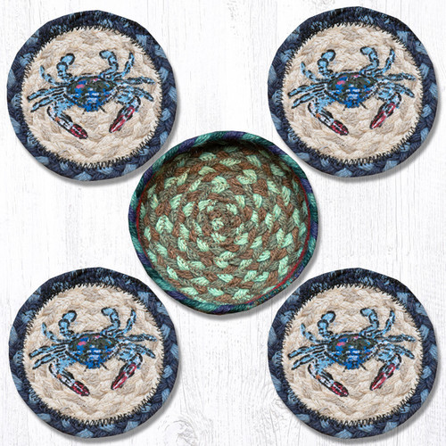 Earth Rugs™ braided coasters In a basket set: Blue Crab - CNB-359