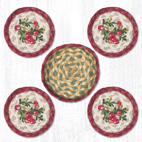 Earth Rugs™ braided coasters In a basket set: Cranberries - CNB-390