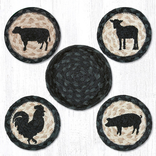 Earth Rugs™ braided coasters In a basket set: Barnyard Animals - CNB-459