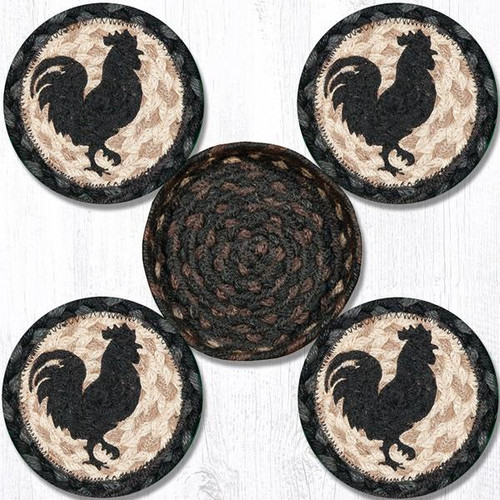 Earth Rugs™ braided coasters In a basket set: Rooster Silhoutte - CNB-459