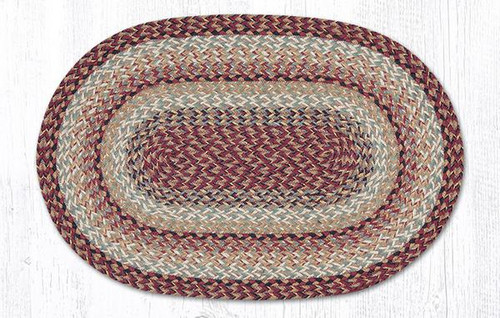 Earth Rugs™ oval craft-spun braided jute rug in pictured in: Burgundy - C9-95