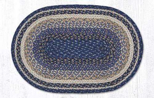 Earth Rugs™ oval craft-spun braided jute rug in pictured in: Deep Blue - C9-97