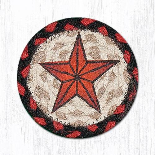 "Earth Rugs™ Braided Jute 5"" Round Coaster:  Barn Star Design - 31-IC019BS"