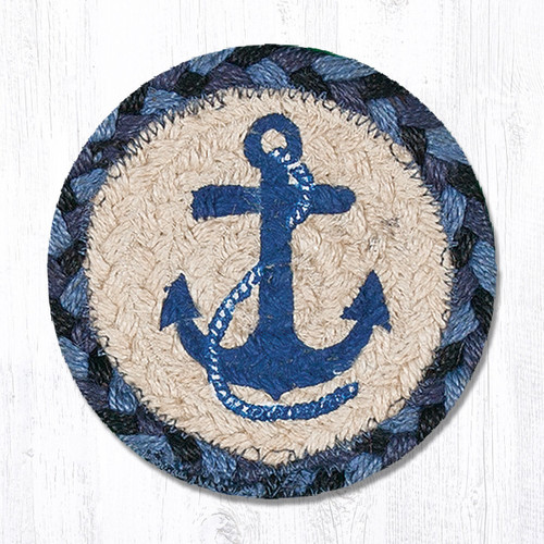 """Earth Rugs™ Braided Jute 5"""" Round Coaster:  Navy Anchor Design - 31-IC443NA"""