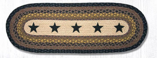 Earth Rugs™ Braided Jute Oval Table Runner: Black Stars OP-99