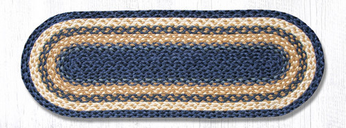 Earth Rugs™ Braided Jute Oval Table Runner: Dark Blue/Mustard - C-079