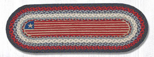 Earth Rugs™ Braided Jute Oval Table Runner: Flag 015F
