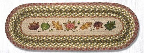 Earth Rugs™ Braided Jute Oval Table Runner: Autumn Leaves 024AL