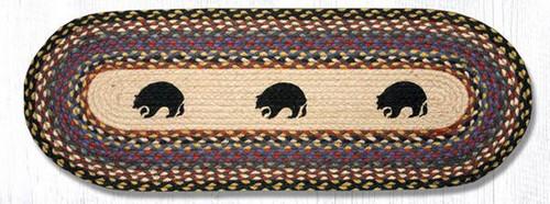 Earth Rugs™ Braided Jute Oval Table Runner: Black Bears 043BB