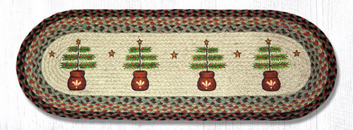 Earth Rugs™ Braided Jute Oval Table Runner: Feather Tree 68-081FT