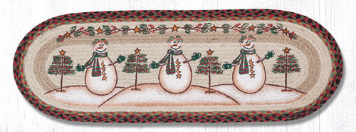 Earth Rugs™ Braided Jute Oval Table Runner: Moon & Star Snowman 68-081MSS