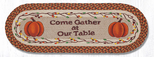 Earth Rugs™ Braided Jute Oval Table Runner: Come Gather At Our Table 68-222CGT