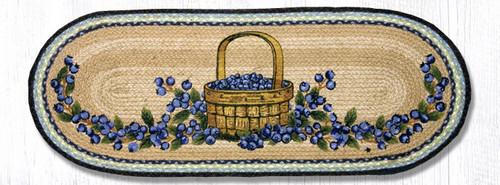 Earth Rugs™ Braided Jute Oval Table Runner: Blueberry Basket 68-312BB