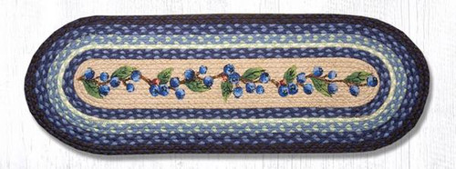 Earth Rugs™ Braided Jute Oval Table Runner: Blueberry Vine 68-312BV