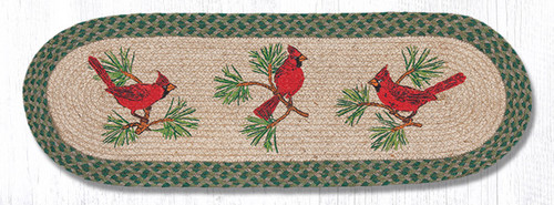 Earth Rugs™ Braided Jute Oval Table Runner: Cardinals