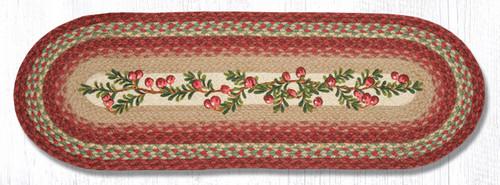 Earth Rugs™ Braided Jute Oval Table Runner: Cranberries