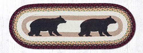 Earth Rugs™ Braided Jute Oval Table Runner: Cabin Bear