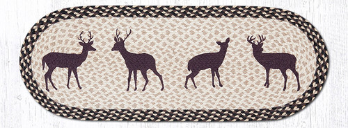 Earth Rugs™ Braided Jute Oval Table Runner: Deer Silhouette