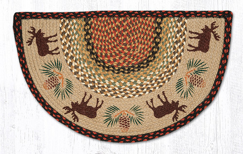 Earth Rugs™ Braided Jute Printed Slice Rug - Moose Pinecone