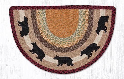 Earth Rugs™ Braided Jute Printed Slice Rug - Cabin Bear