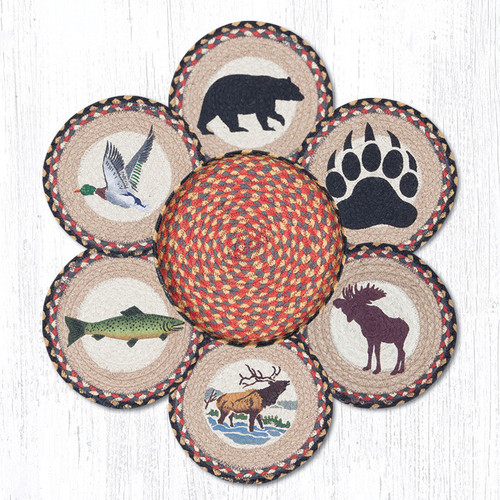 "Earth Rugs™ Braided Jute 10"" Round Trivets In Basket Set: Wildlife"