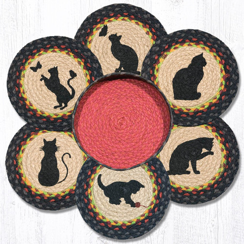 """Earth Rugs™ Braided Jute 10"""" Round Trivets In Basket Set: Cats"""