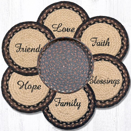 """Earth Rugs™ Braided Jute 10"""" Round Trivets In Basket Set: Blessings, Faith, Hope, Love, Family, Friends"""