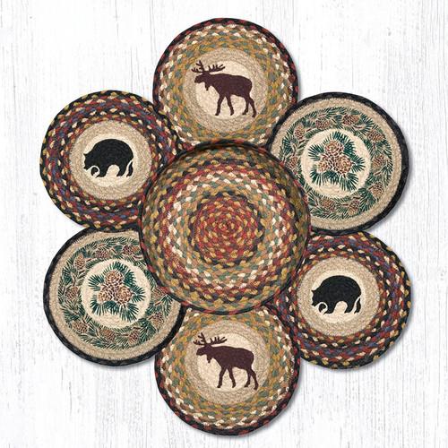 "Earth Rugs™ Braided Jute 10"" Round Trivets In Basket Set: Wilderness"