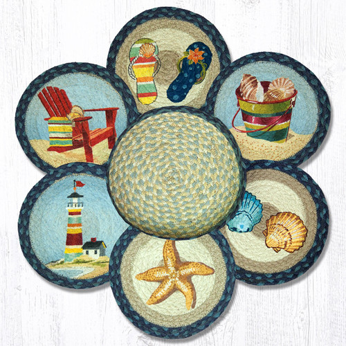 """Earth Rugs™ Braided Jute 10"""" Round Trivets In Basket Set: By The Sea"""
