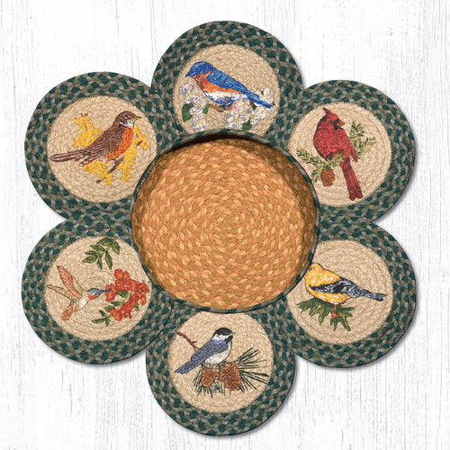 "Earth Rugs™ Braided Jute 10"" Round Trivets In Basket Set: Song Birds"