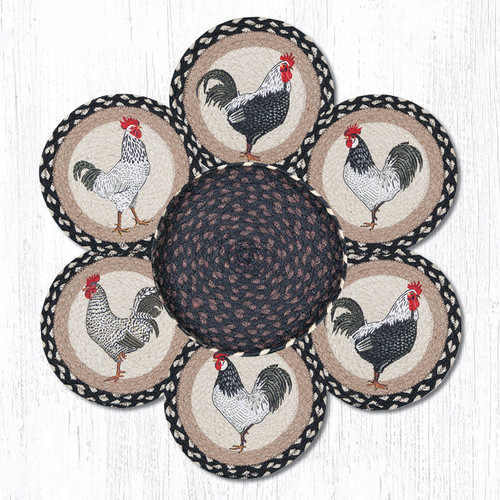 "Earth Rugs™ Braided Jute 10"" Round Trivets In Basket Set: Roosters"