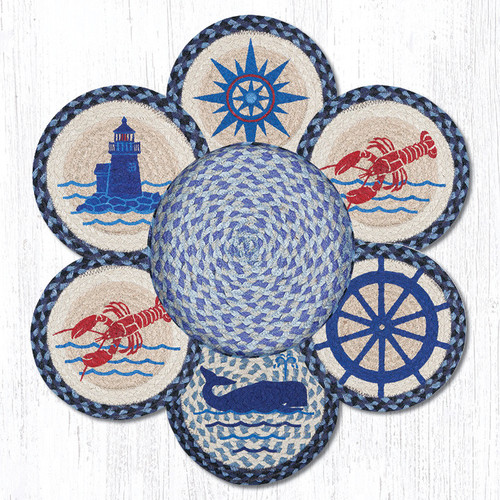 "Earth Rugs™ Braided Jute 10"" Round Trivets In Basket Set: Nautical"