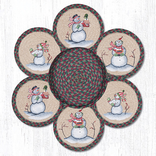 "Earth Rugs™ Braided Jute 10"" Round Trivets In Basket Set: Snowman"