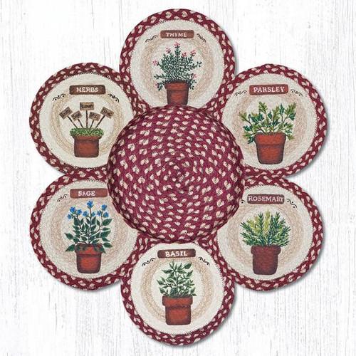 "Earth Rugs™ Braided Jute 10"" Round Trivets In Basket Set: Herbs"