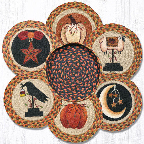 """Earth Rugs™ Braided Jute 10"""" Round Trivets In Basket Set: Autumn"""