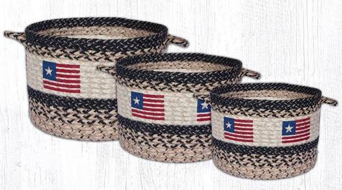 Earth Rugs™ Braided Jute Utility Basket: Original Flag