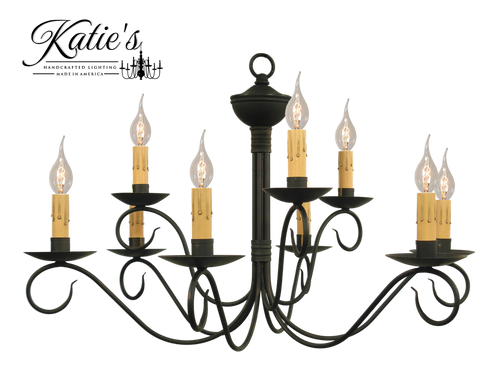 Katie's Handcrafted Lighting Washington 2-Tier Chandelier Finished In Aged Black Finish